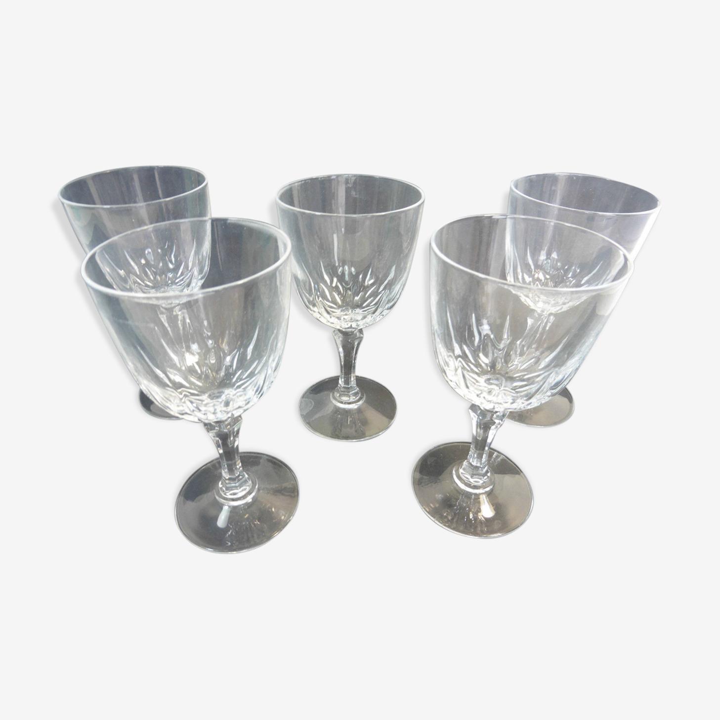 Ensemble de 5 verres pied en cristal  d'Arques