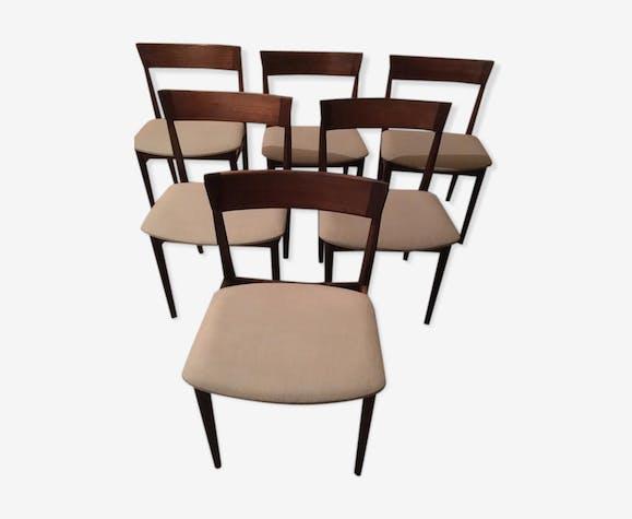 Lot de 6 chaises vintage années 60 palissandre