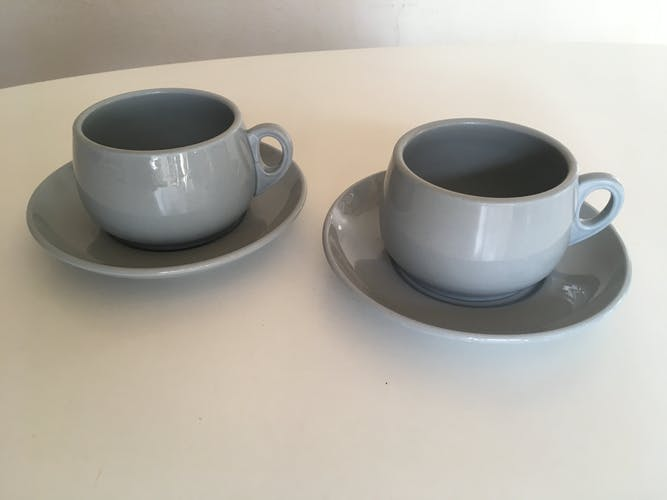 Pair of 60s Gien faience lunches