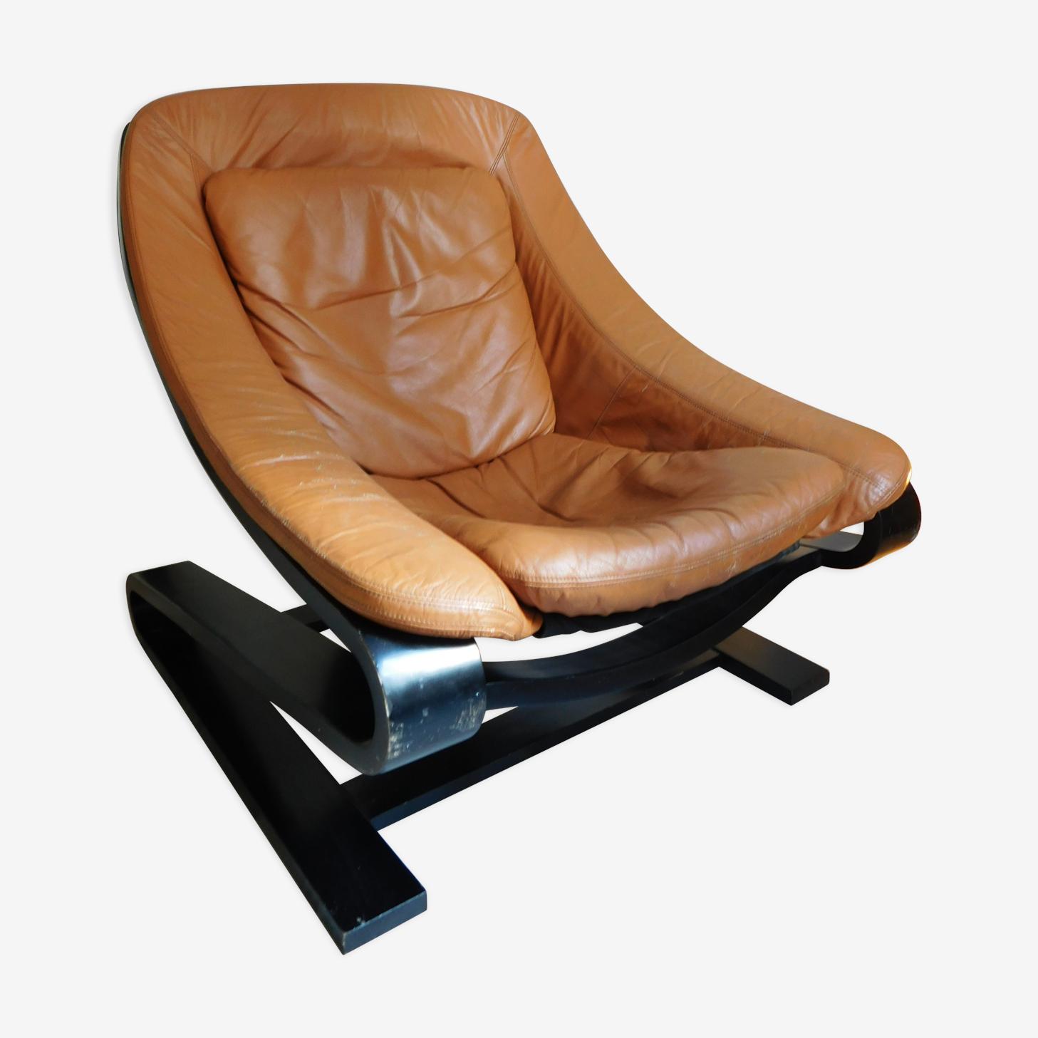 Fauteuil scandinave cuir fauve et bois courbé cuir marron