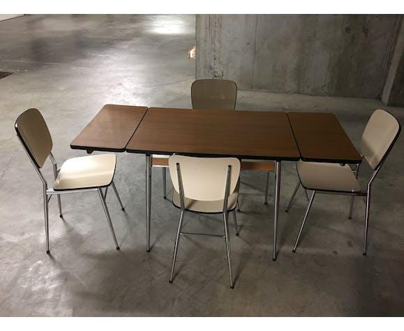 Table extensible et chaises en formica années 70
