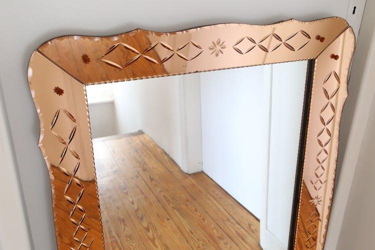 Miroir pop années 60-70 ancien art déco 70x100cm