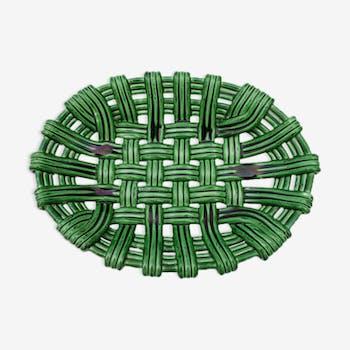 Coupe à fruits céramiquecorbeille barbotine tressée vert