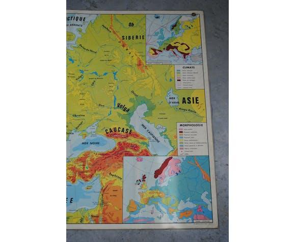 Carte scolaire 1967 Europe physique et politique