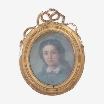 Pastel jeune fille XIXe avec cadre ancien