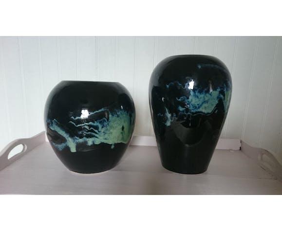 Paire de vases en céramique 1980