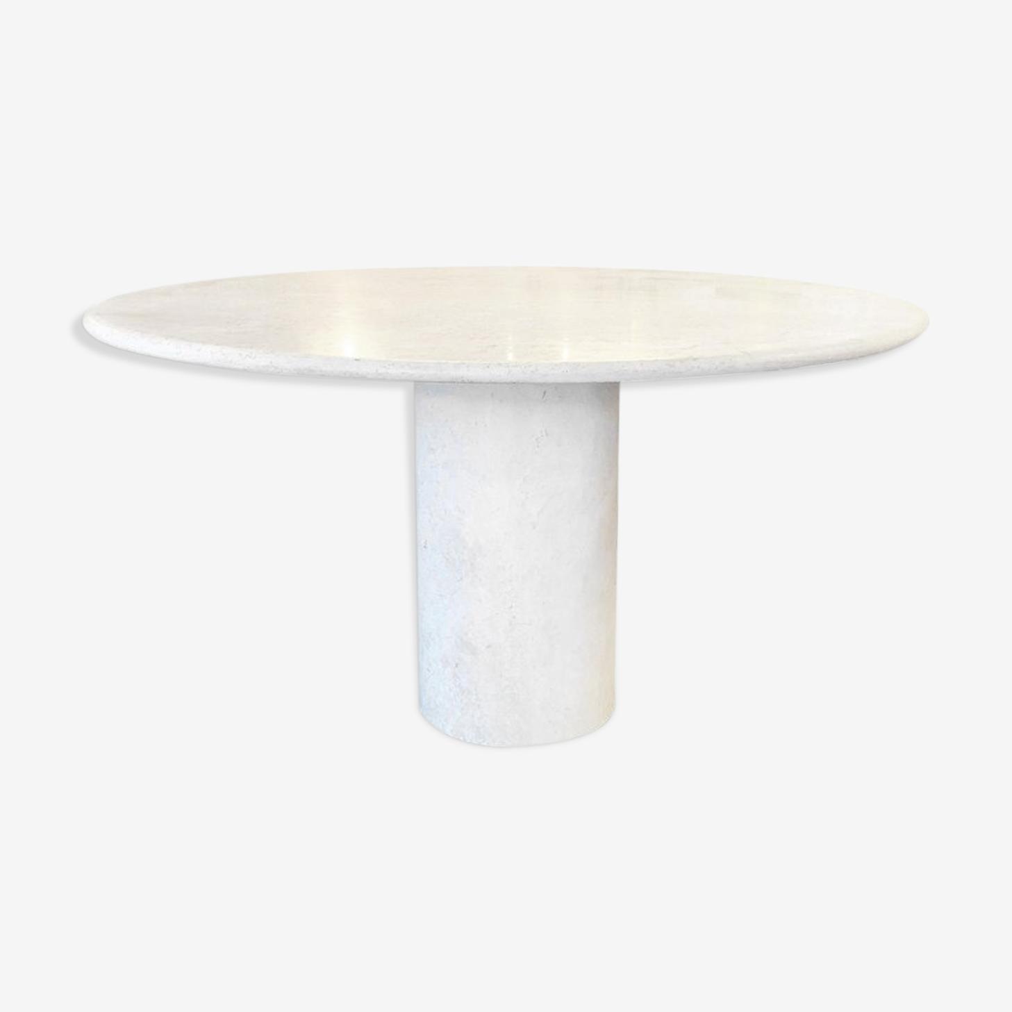 Dining pedestal table in travertine, circa 1970