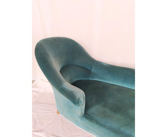 Méridienne velours bleu