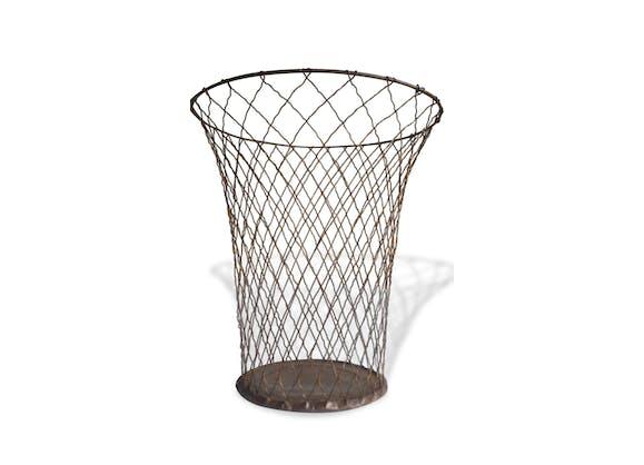 corbeille papier poubelle ancienne vintage m tal gris vintage 137928. Black Bedroom Furniture Sets. Home Design Ideas