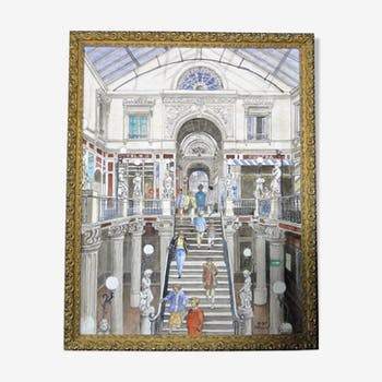 Paper watercolour stamped R. Daniel, 1995 with gilded frame