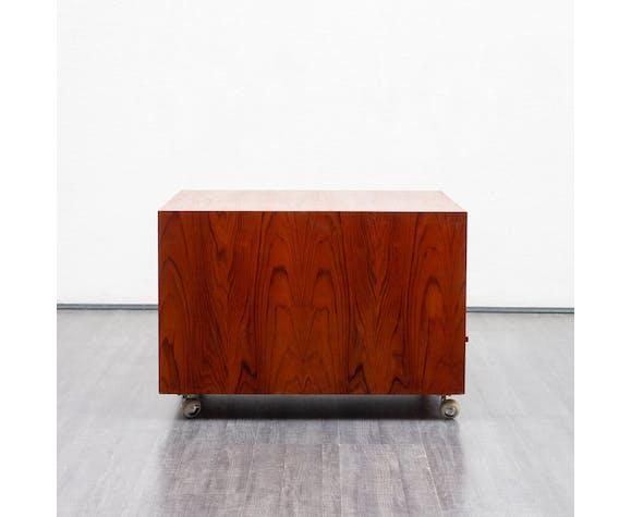 Table basse vintage, teck, avec rouleaux
