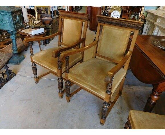 Paire de fauteuils en cêne massif fin du XIX ème siecle
