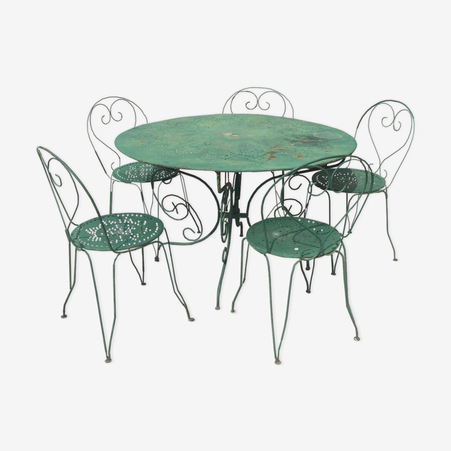 Table et chaises de jardin en fer