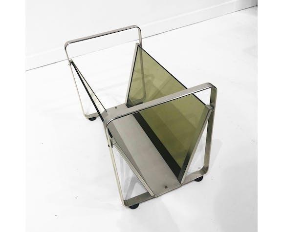 Av Handwerk Space Age Magazine Rack Or Vinyl Records Smoked Green Glass Chrome Midcentury Modern