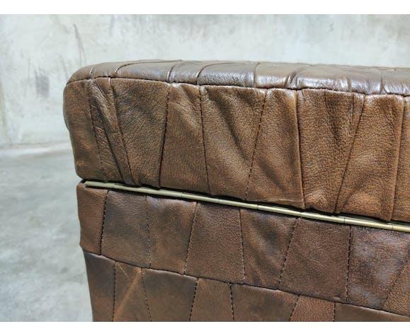 Repose-pieds en cuir patchwork du milieu du siècle