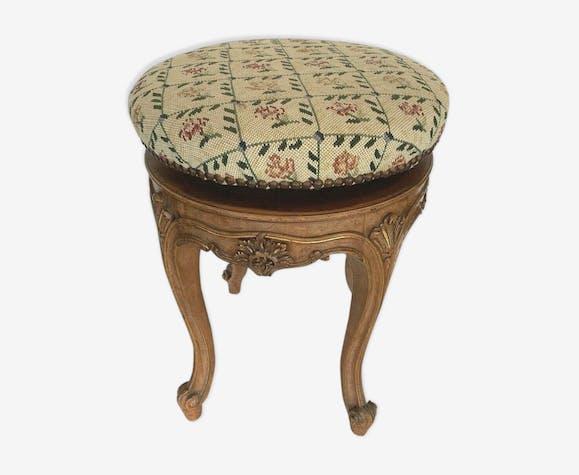 Tabouret de style Louis XV Assise réglable tapisserie aux points XX siècle