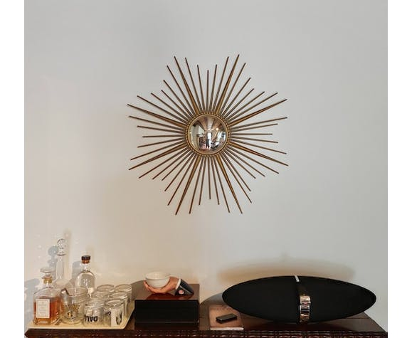 Mirror sun witch eye Chaty Vallauris France 50/60's 85x85cm