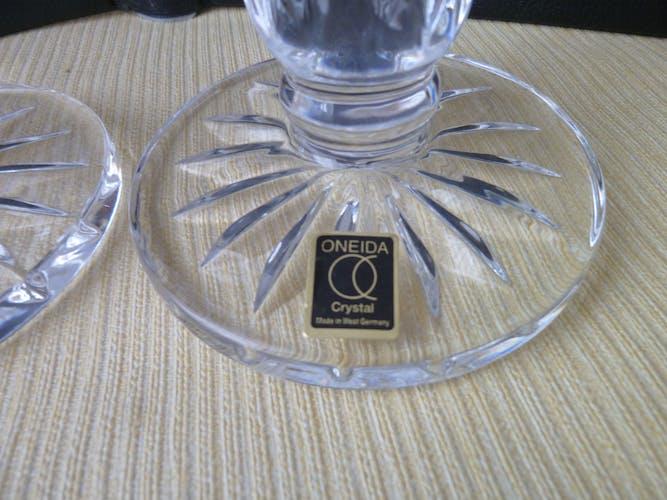 Paire de bougeoirs en cristal Omeda