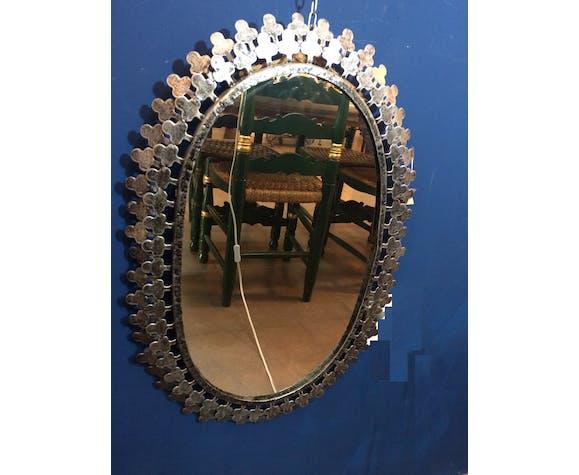 Metal oval mirror