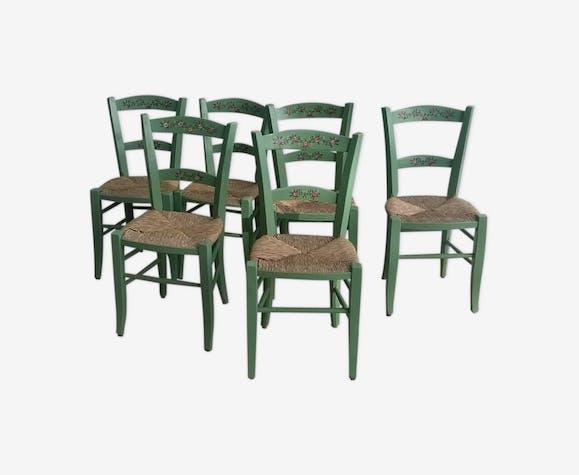lot de 6 chaises campagne bois paill es peinture proven ale bois mat riau vert classique. Black Bedroom Furniture Sets. Home Design Ideas