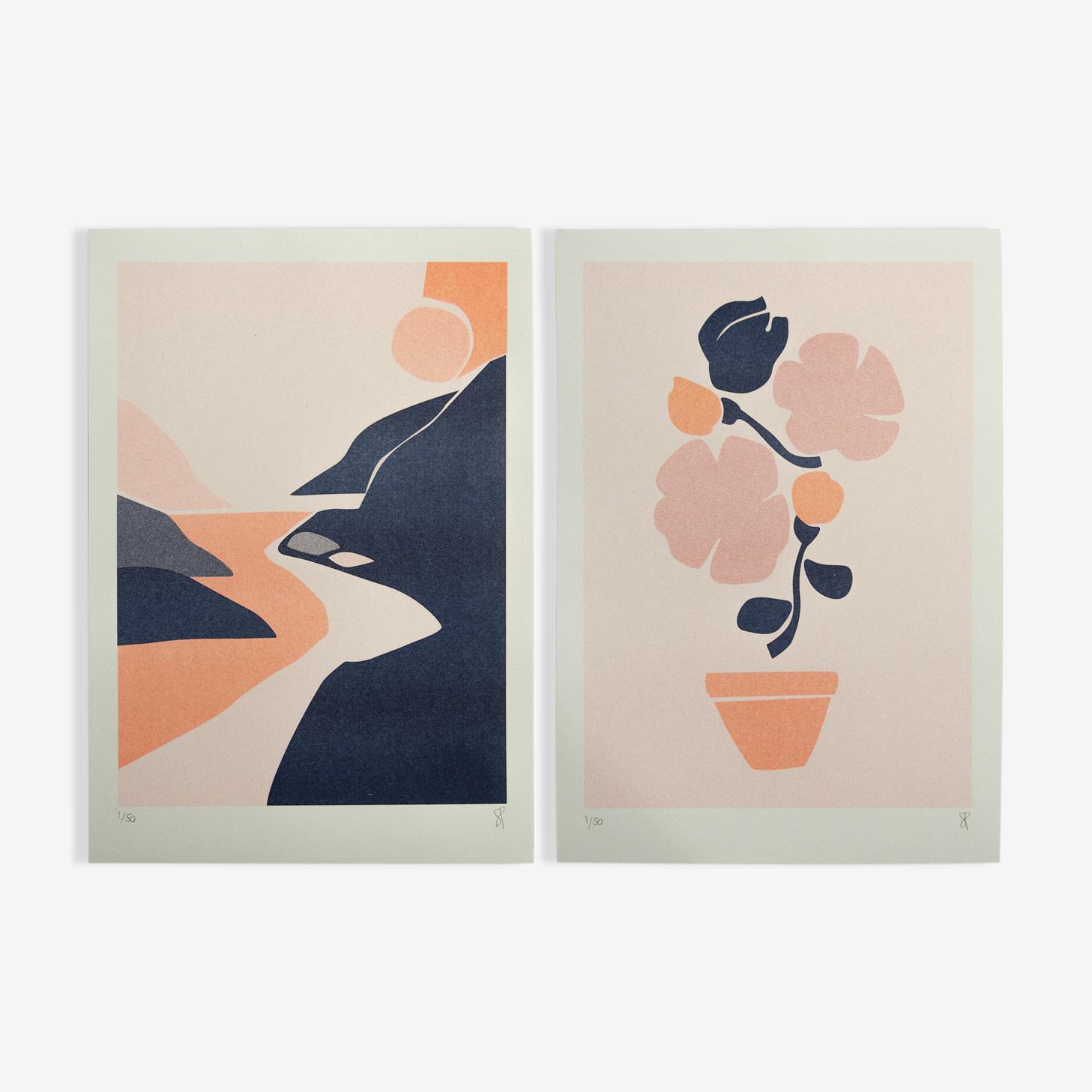 Duo sunset blush / petit pot de fleurs A4
