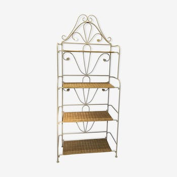 Forged Iron and Wicker Baker's Shelf