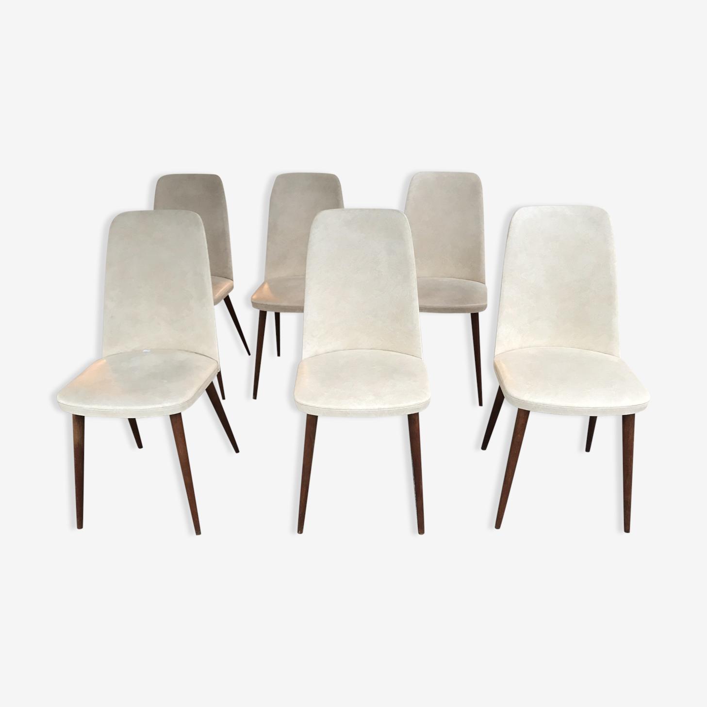Ensemble de 6 chaises vintage 1950/1960