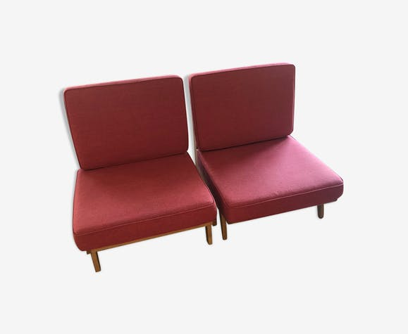 Fauteuils modèle Souillac marque Sentou - bois (Matériau) - rouge ...