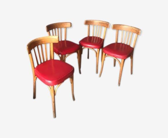 Ensemble de 4 chaises rouge cuire style bistro