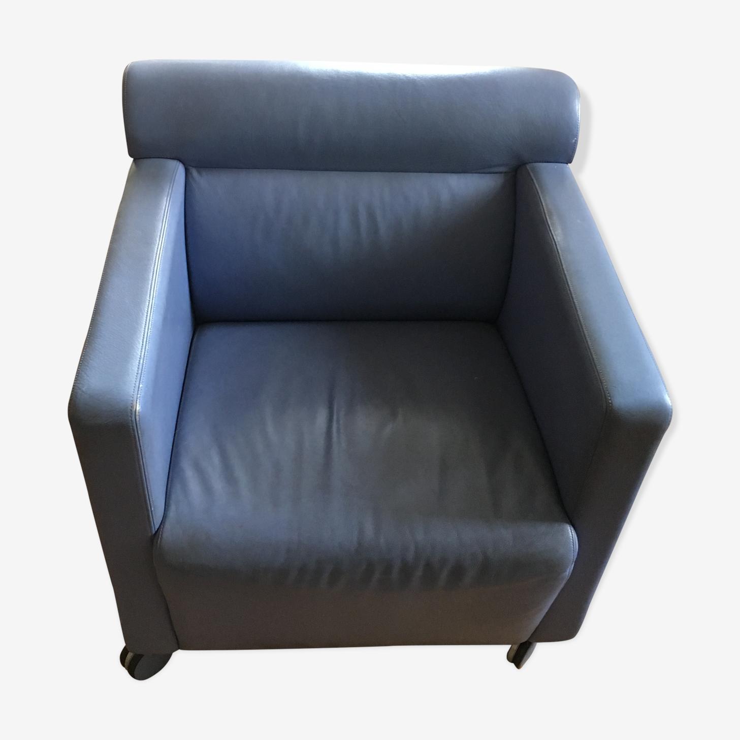 Fauteuil design Poltrona Frau cuir bleu art déco 9J7viVs
