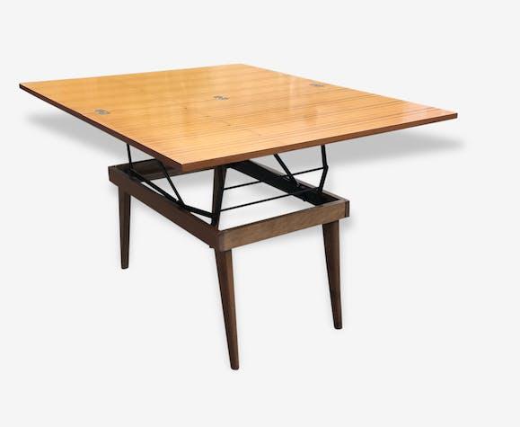 Table basse portefeuille et table haute de repas 1950 1960 vintage scandinave bois mat riau - Table haute et basse ...
