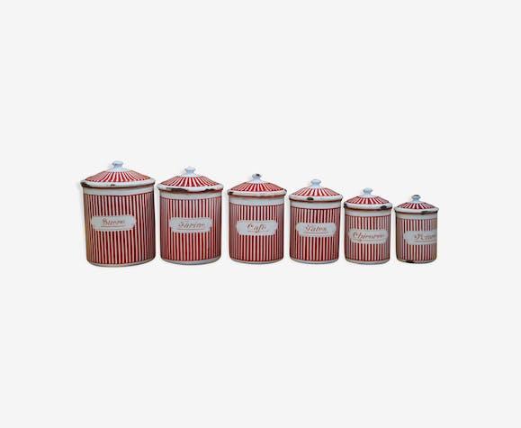 Lot of 6 enamelled pots