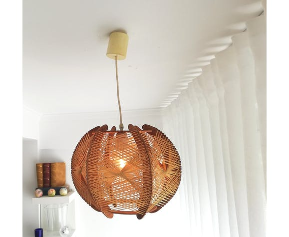 RESERVED Set of Four Woven Rattan and Straw Chandelier