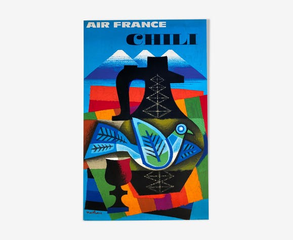 Affiche ancienne original Air France Chili Par Nathan