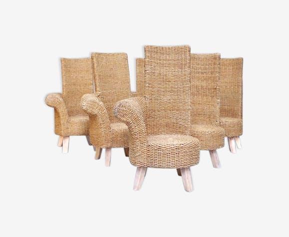 Ensemble de six fauteuils d exterieur en corde tressée avec un accotoir,  circa 1960 b9532db4a2d3