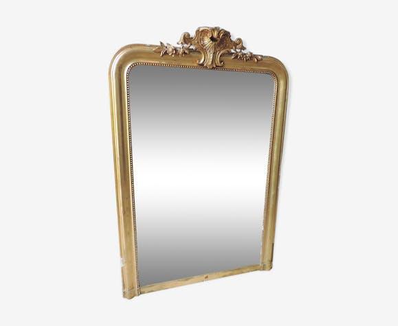 Miroir doré à fronton Napoléon III 98x143cm
