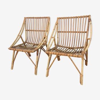 Paire de fauteuils rotins vintage années 50
