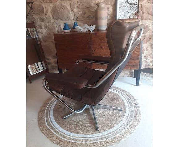 Fauteuil pivotant 1960 aluminium et cuir brun
