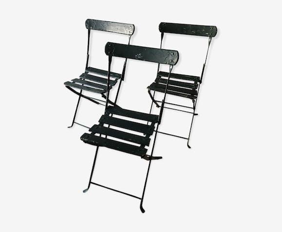 Suite de trois chaises pliantes de jardin anciennes - bois (Matériau ...