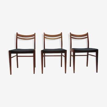 Set of 3 chairs Scandinavian wooden 50-60 years