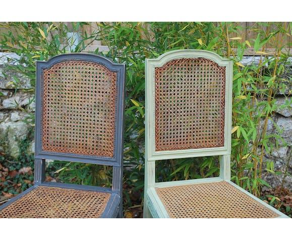 Duo de chaises vintage patiné