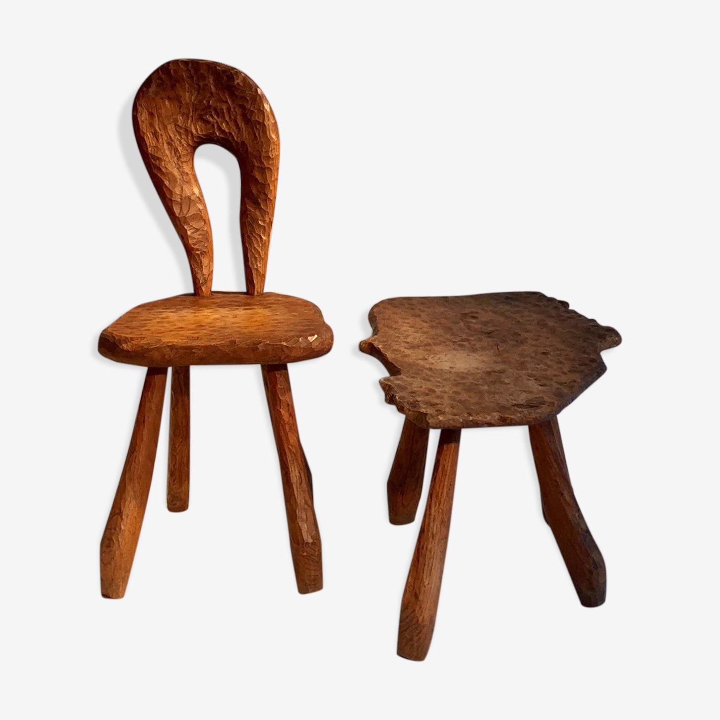 Table et chaise par un ébéniste Vallauris 1950