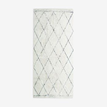 Tapis berbere 80 x 180 cm blanc losange noir