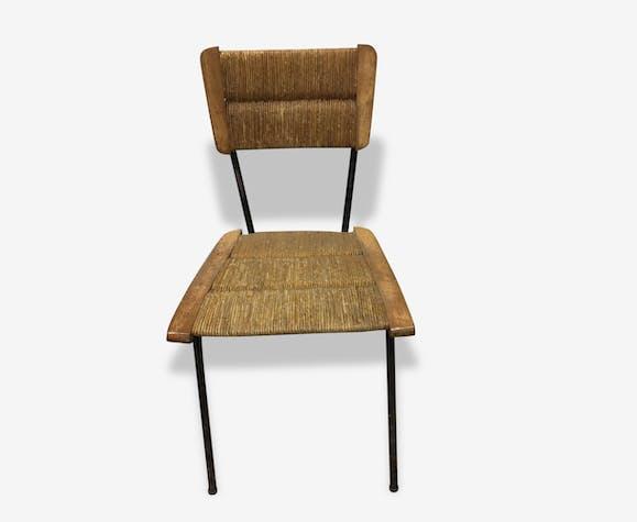 paire de chaises vintage m tal bois et paille bois mat riau multicolore vintage 156259. Black Bedroom Furniture Sets. Home Design Ideas