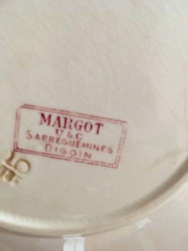 """Cinq assiettes dessert et plat de service Digoin Sarreguemines modèle """"Margot"""""""