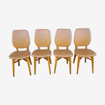 4 chairs wood and leatherette 60s