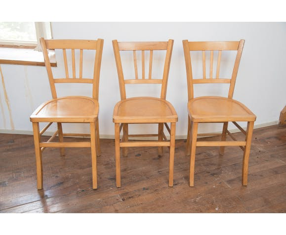 Série de 3 chaises de bistrot 60