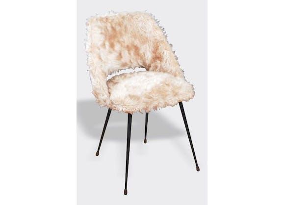 fauteuil en fausse fourrure beige vintage 3148. Black Bedroom Furniture Sets. Home Design Ideas