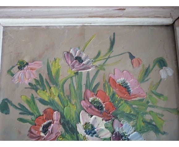 Painting painting bouquet flowers signed L.Audrey
