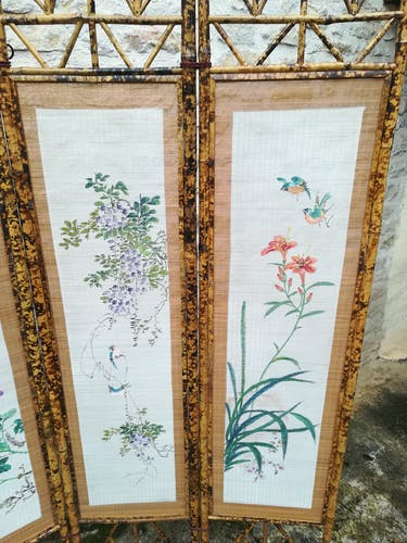 Paravent en bambou et paille de riz